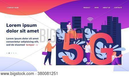 5g Networks And Telecom Concept. People Using Digital Devices. Flat Vector Illustration For Fast Spe