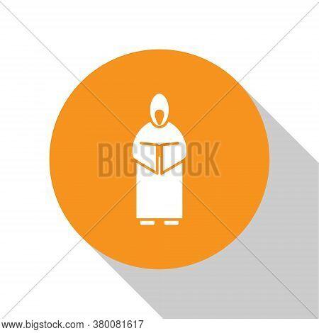 White Monk Icon Isolated On White Background. Orange Circle Button. Vector Illustration