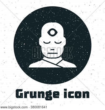 Grunge Man With Third Eye Icon Isolated On White Background. The Concept Of Meditation, Vision Of En
