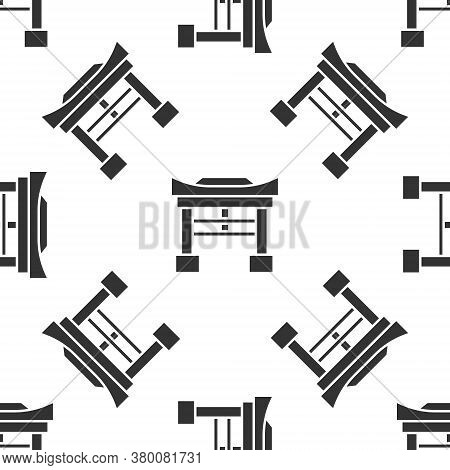 Grey Japan Gate Icon Isolated Seamless Pattern On White Background. Torii Gate Sign. Japanese Tradit