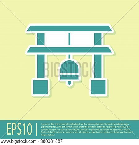 Green Japan Gate Icon Isolated On Yellow Background. Torii Gate Sign. Japanese Traditional Classic G