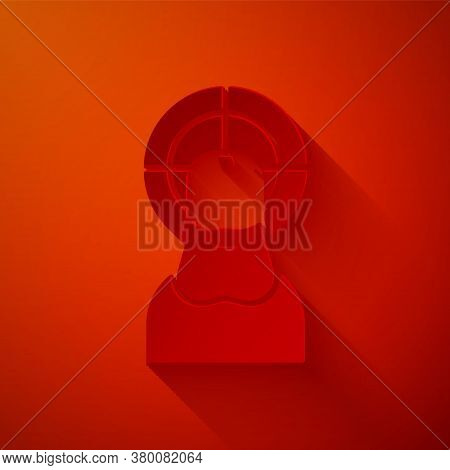 Paper Cut Jesus Christ Icon Isolated On Red Background. Paper Art Style. Vector Illustration