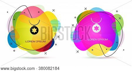 Color Star Of David Necklace On Chain Icon Isolated On White Background. Jewish Religion. Symbol Of