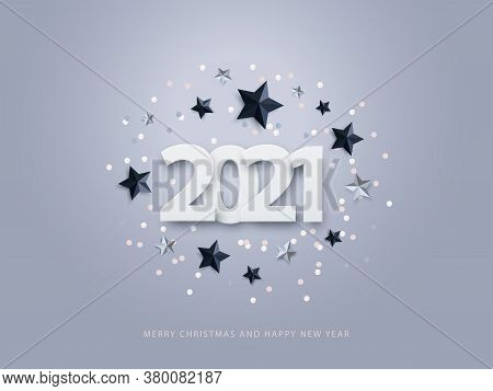 Happy New Year 2021. Vector Illustration Of Paper Cut 2021 With Sparkling Confetti, Silver And Black