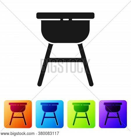 Black Barbecue Grill Icon Isolated On White Background. Bbq Grill Party. Set Icons In Color Square B