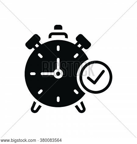 Black Solid Icon For Time-check-symbol Ready Timer Checkmark Countdown Compliance Done Reminder