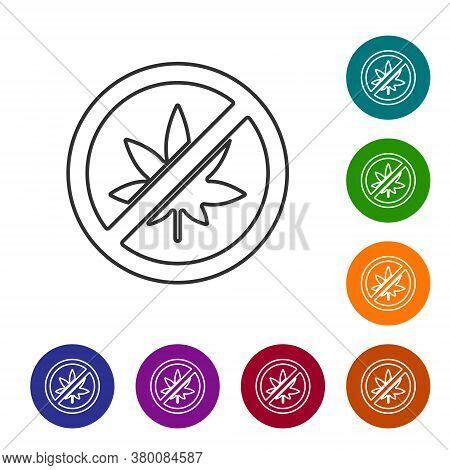 Black Line Stop Marijuana Or Cannabis Leaf Icon Isolated On White Background. No Smoking Marijuana.