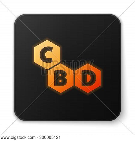 Orange Glowing Neon Cannabis Molecule Icon Isolated On White Background. Cannabidiol Molecular Struc