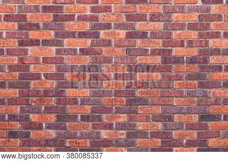 Red Brown Colored Textured Lined Aligned Pattern Brick Wall, Rich Colors And Shadows Suitable For We