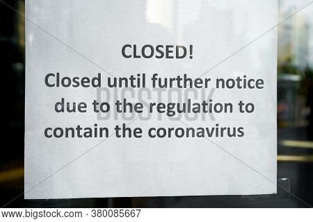 Sign On The Front Door Of A Closed Hotel In Berlin During The Corona Pandemic