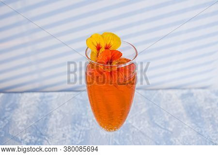 Italian Aperol Spritz Alcohol Cocktail With Ice Cubes. Summer Refreshing Orange Drink With Bitter, S