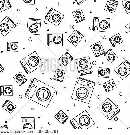 Black Line Washer Icon Isolated Seamless Pattern On White Background. Washing Machine Icon. Clothes