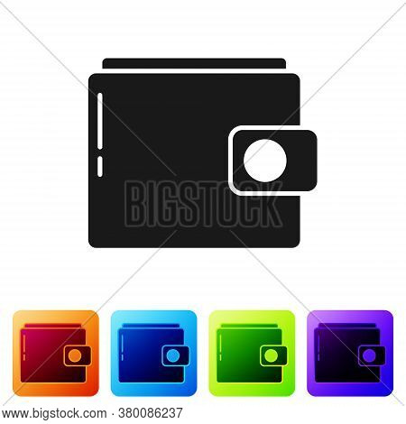 Black Wallet Icon Isolated On White Background. Purse Icon. Cash Savings Symbol. Set Icons In Color