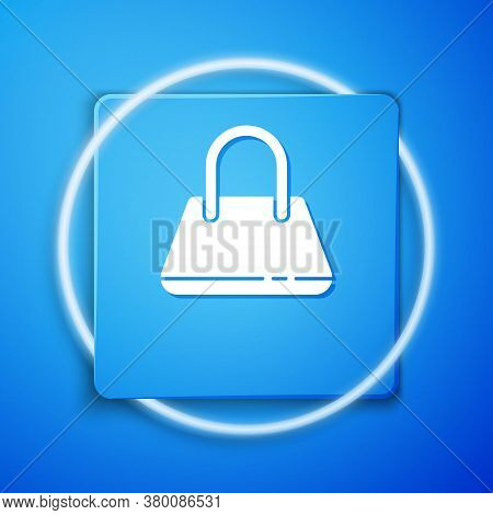 White Handbag Icon Isolated On Blue Background. Female Handbag Sign. Glamour Casual Baggage Symbol.