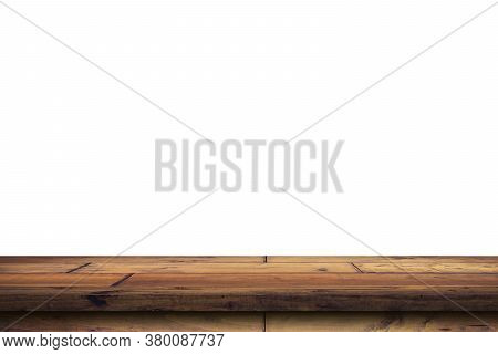 Empty Wood Table On Isolate White Background And Display Montage With Copy Space For Product.