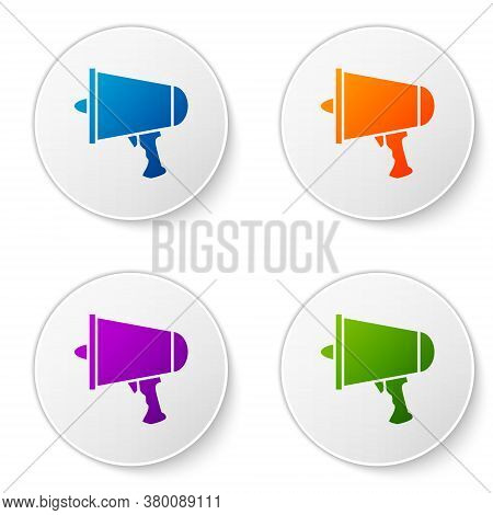 Color Spread The Word, Megaphone Icon Isolated On White Background. Set Icons In Circle Buttons. Vec