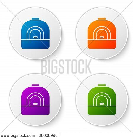 Color Oven Icon Isolated On White Background. Stove Gas Oven Sign. Set Icons In Circle Buttons. Vect