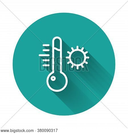 White Line Meteorology Thermometer Measuring Icon Isolated With Long Shadow. Thermometer Equipment S