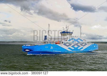 Virtsu, Estonia - July 30, 2020: Big Passanger Ferry Connecting Estonia Mainland And Muhu Island. Bl