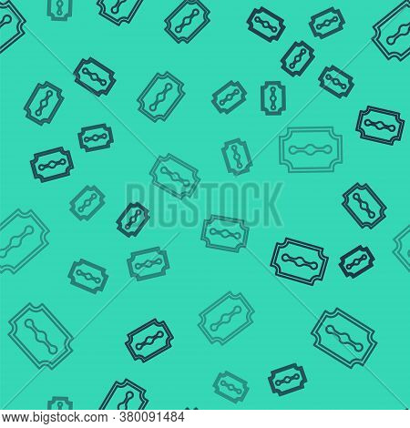 Black Line Blade Razor Icon Isolated Seamless Pattern On Green Background. Vector Illustration