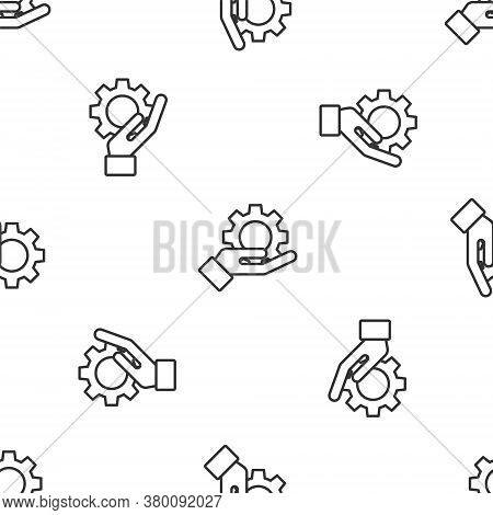 Grey Line Hand Settings Gear Icon Isolated Seamless Pattern On White Background. Adjusting, Service,