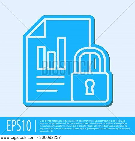 Blue Line Document And Lock Icon Isolated On Grey Background. File Format And Padlock. Security, Saf