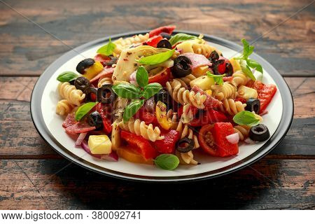 Antipasto Salad With Pasta, Tomato, Olives, Red Onion, Bell Pepper, Salami, Cheese Artichoke And Bas