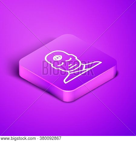 Isometric Line Man With Third Eye Icon Isolated On Purple Background. The Concept Of Meditation, Vis
