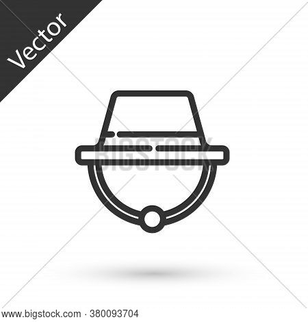 Grey Line Camping Hat Icon Isolated On White Background. Beach Hat Panama. Explorer Travelers Hat Fo
