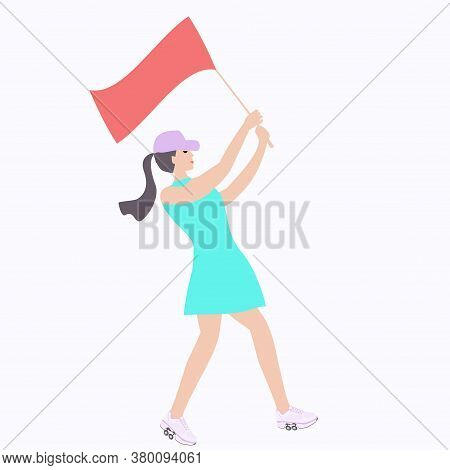 Girl Rollerblading With Flag In Hands - Isolated On White Background - Vector.