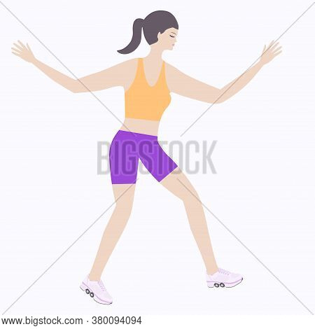 Girl Rollerblading - Isolated On White Background - Vector.