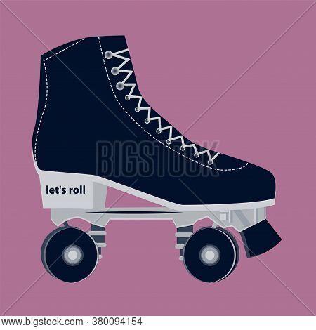 Roller Skates - Lace-up, Dark Blue On A Pink Background - Vector.