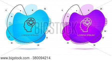 Line Male Head In Profile With Marijuana Or Cannabis Leaf Icon Isolated On White Background. Marijua