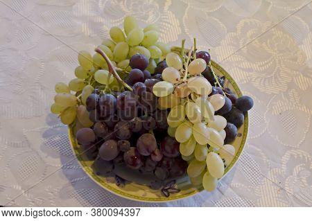 Fresh Ripe White, Black And Pink Grapes, Ready To Eat, Zavet, Bulgaria