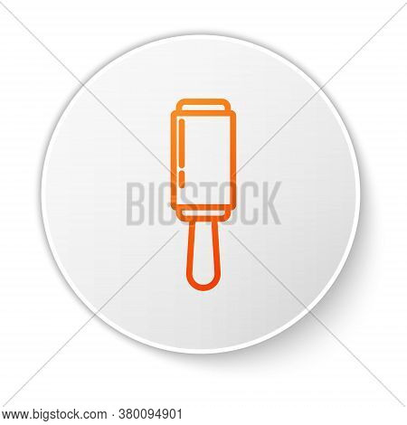 Orange Line Adhesive Roller For Cleaning Clothes Icon Isolated On White Background. Getting Rid Of D