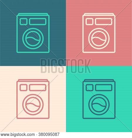 Pop Art Line Washer Icon Isolated On Color Background. Washing Machine Icon. Clothes Washer - Laundr