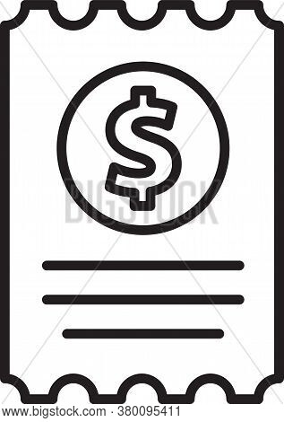 Black Line Paper Check And Financial Check Icon Isolated On White Background. Paper Print Check, Sho