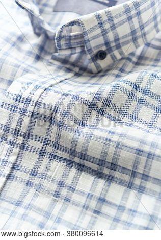 Mens Checked Shirt. Copy Space. Close Up.