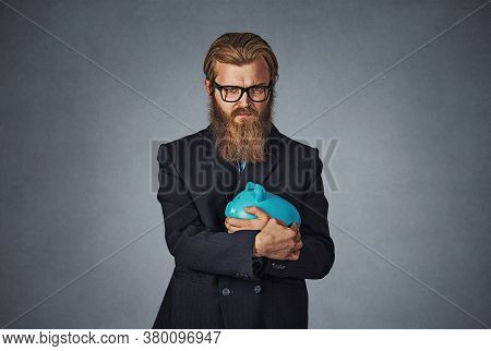 Young Formal Man In Glasses Extremely Fascinated With Money Saving Holding With Greedy Hand Gesture