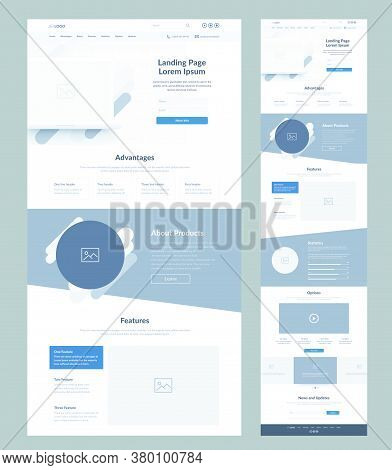 Landing Page Wireframe Design For Business. One Page Site Layout Template. Modern Responsive Design.
