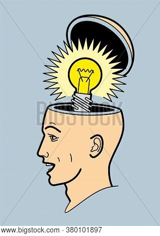 Human Head. A Man\'s Brain Is Open. Abstract Form Of An Open Human Head. Profile Man. Idea. A Light