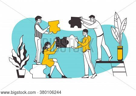 Puzzle Concept. Teamwork And Business Partnership Metaphor With Cartoon Workers Holding Puzzle Eleme