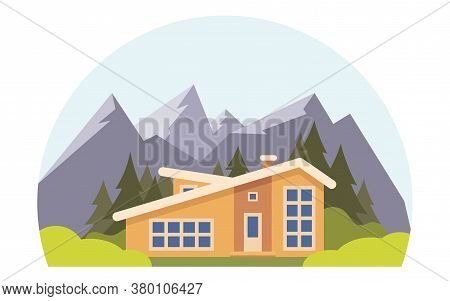 Mountain Landscape With Big House For Tourists. Summer Vacation In The Mountains, House Rentals. Cha