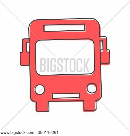 Vector Illustration Bus To Transport People Cartoon Style On White Isolated Background.