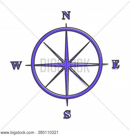 Vector Icon Compass With Indication Sides Of The World. Illustration Compass Symbol For Determining