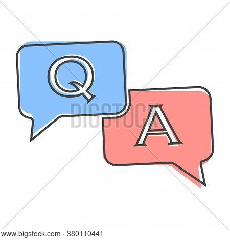 Question Answer Icon. Flat Image Speech Bubbles Question And Answer Cartoon Style On White Isolated