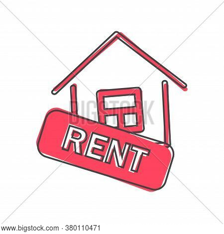 Rent House Vector Icon Cartoon Style On White Isolated Background.