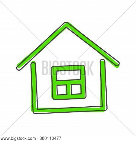 Houses Vector Icon. Home Symbo Cartoon Style On White Isolated Background.