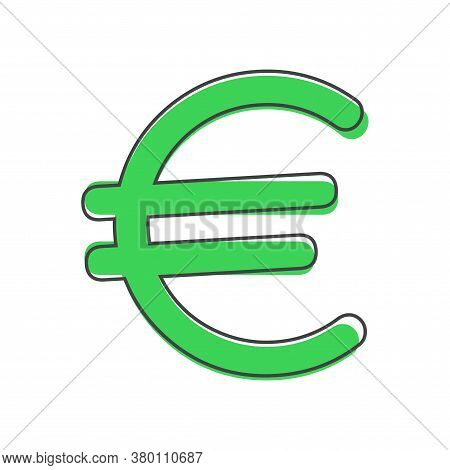 Vector Image Of The Euro Sign On Gray Background. Flat Image Euro Cartoon Style On White Isolated Ba