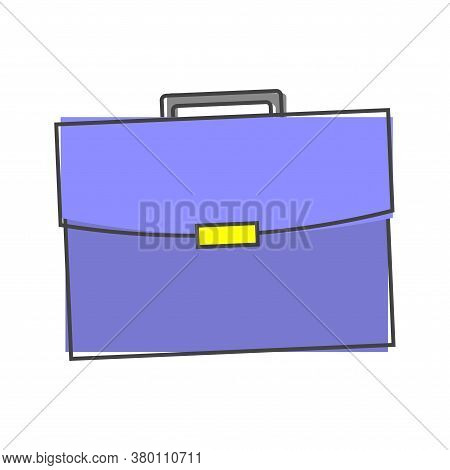 Briefcase Icon. Business Bag Cartoon Style On White Isolated Background.